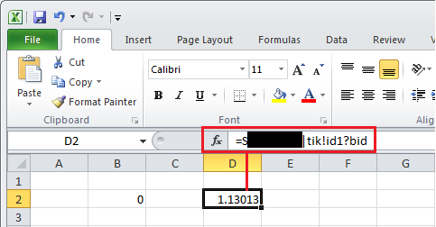 TWS API v9 72+: Real Time Data with Excel